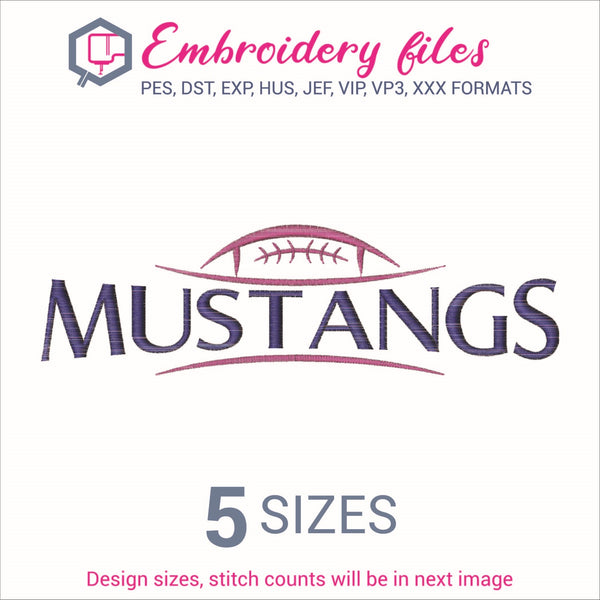 Mustangs Football Ball Embroidery in DST, EXP, HUS, JEF, PCS, PES, SEW, VIP, VP3 & XXX - rhinestone templates