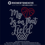 My heart is on that field Basketball digital rhinestone templates, ai, svg, eps, png, dxf