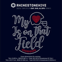 My heart is on that field Football digital rhinestone templates, ai, svg, eps, png, dxf - rhinestone templates