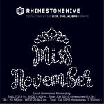 Miss November rhinestone template digital download, ai, svg, eps, png, dxf SS10