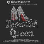 November Queen high heels Birthday rhinestone template digital download, ai, svg, eps, png, dxf - rhinestone templates