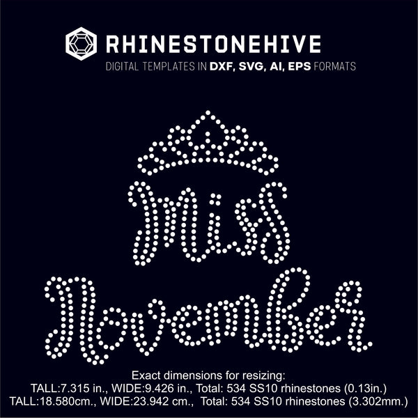 Miss November rhinestone template digital download, ai, svg, eps, png, dxf - rhinestone templates