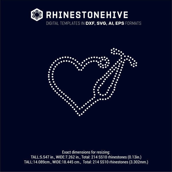 Nurse, heart, love, rhinestone template digital download, svg, eps, ai, png, dxf - rhinestone templates