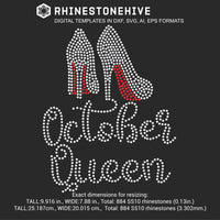 October Queen high heels Birthday rhinestone template digital download, ai, svg, eps, png, dxf - rhinestone templates