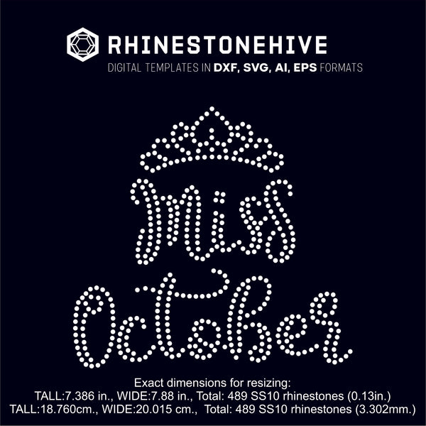 Miss October rhinestone template digital download, ai, svg, eps, png, dxf SS10