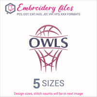 Owls team Basketball Embroidery in DST, EXP, HUS, JEF, PCS, PES, SEW, VIP, VP3 & XXX - rhinestone templates