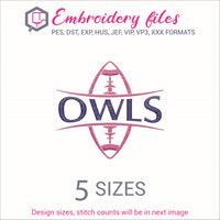 Owls Football Ball Embroidery in DST, EXP, HUS, JEF, PCS, PES, SEW, VIP, VP3 & XXX - rhinestone templates