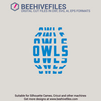 Owls team name stacked 6 styles in svg, dxf, png, ai, eps format - rhinestone templates