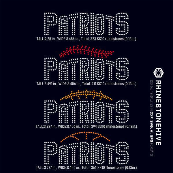 Patriots team baseball, football, basketball, sport digital rhinestone templates, ai, svg, eps, png, dxf - rhinestone templates