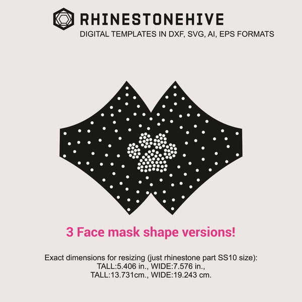 3 Face mask PAW rhinestone templates digital download, ai, svg, eps, png, dxf - rhinestone templates