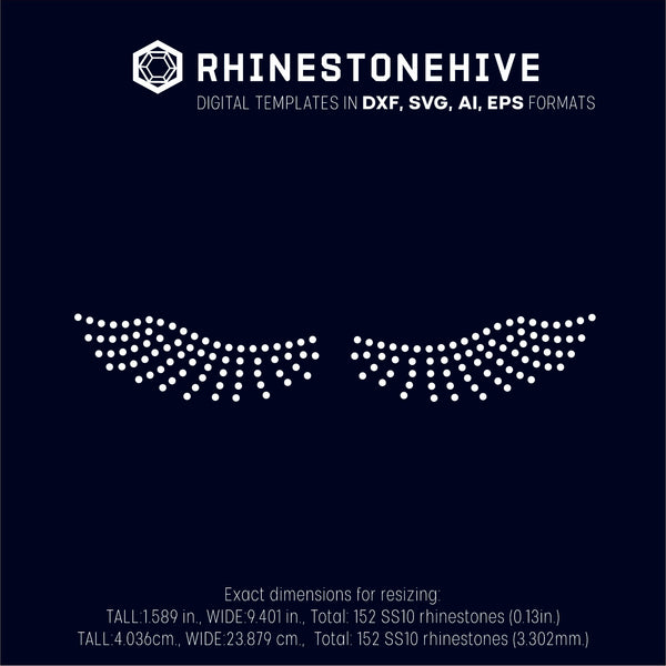 Eye lashes rhinestone template digital download, ai, svg, eps, png, dxf - rhinestone templates