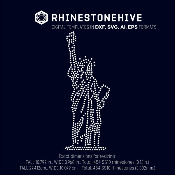 Liberty statue rhinestone template digital download, ai, svg, eps, png, dxf - rhinestone templates