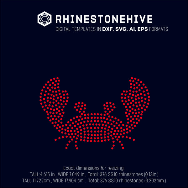 Crab rhinestone template digital download, ai, svg, eps, png, dxf - rhinestone templates