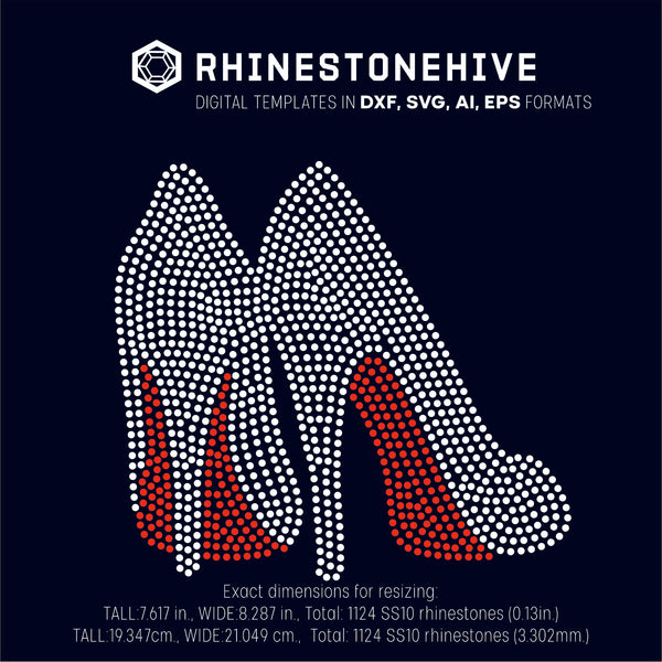 High heels rhinestone template digital download, ai, svg, eps, png, dxf - rhinestone templates