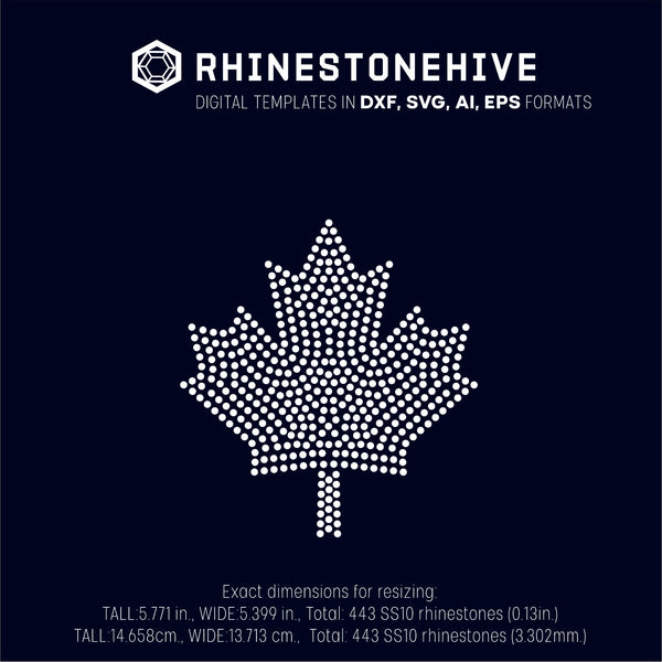 Maple leaf rhinestone template digital download, ai, svg, eps, png, dxf - rhinestone templates