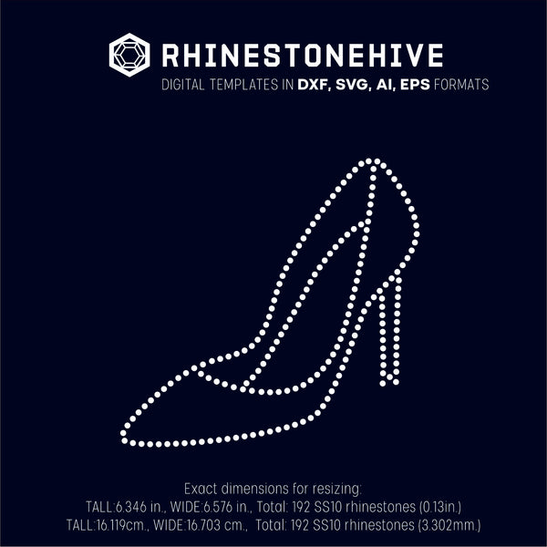 High heel rhinestone template digital download, ai, svg, eps, png, dxf - rhinestone templates