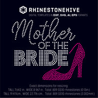 Mother of the bride rhinestone template digital download, ai, svg, eps, png, dxf - rhinestone templates