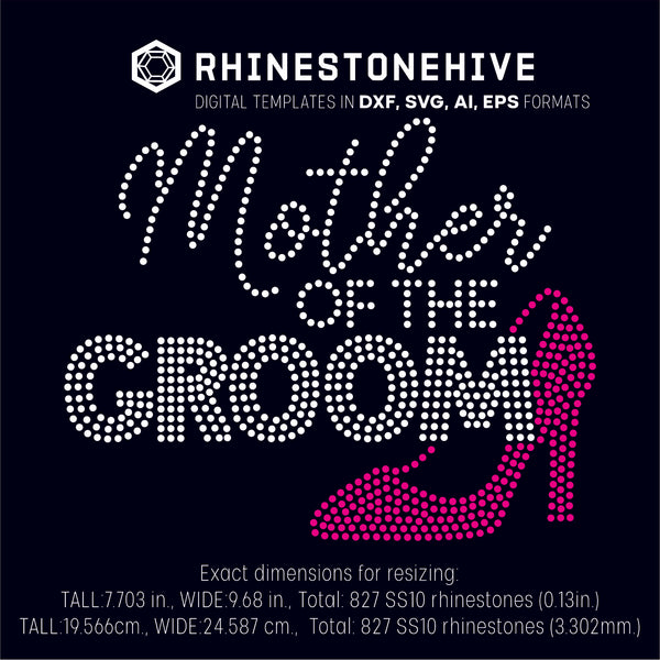 Mother of the groom rhinestone template digital download, ai, svg, eps, png, dxf - rhinestone templates