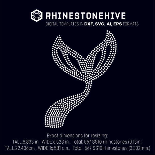 Mermaid tail rhinestone template digital download, svg, eps, png, dxf SS10