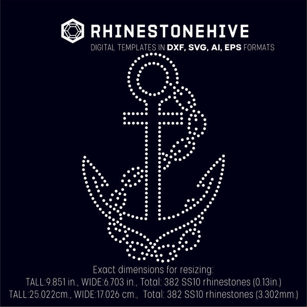 Anchor and chains rhinestone template digital download, ai, svg, eps, png, dxf - rhinestone templates