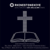 Cross and Bible rhinestone template digital download, ai, svg, eps, png, dxf - rhinestone templates