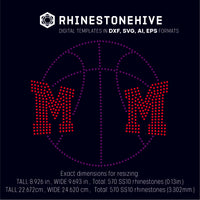 Basketball MOM rhinestone template digital download, ai, svg, eps, png, dxf - rhinestone templates