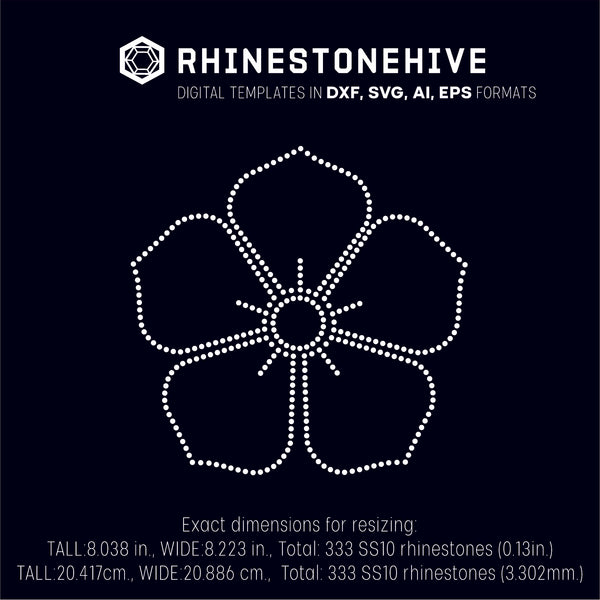 Flower rhinestone template digital download, ai, svg, eps, png, dxf - rhinestone templates