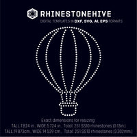 FREE until Monday Air balloon rhinestone template digital download, ai, svg, eps, png, dxf - rhinestone templates