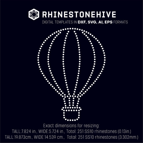Air balloon rhinestone template digital download, ai, svg, eps, png, dxf - rhinestone templates