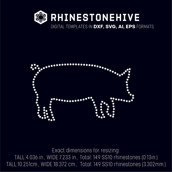 Pig rhinestone template digital download, ai, svg, eps, png, dxf - rhinestone templates