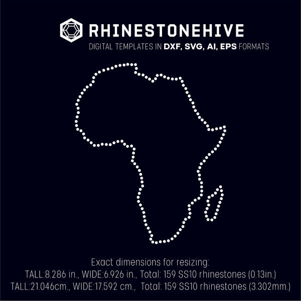 Africa continent rhinestone template digital download, ai, svg, eps, png, dxf - rhinestone templates