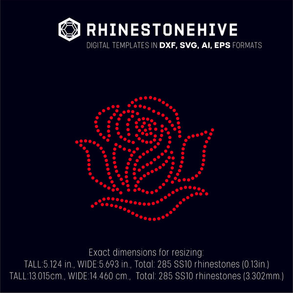 Rose rhinestone template digital download, ai, svg, eps, png, dxf - rhinestone templates