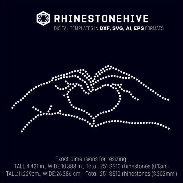 Love heart hands rhinestone template digital download, ai, svg, eps, png, dxf - rhinestone templates