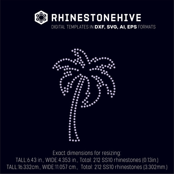 Palm rhinestone template digital download, svg, eps, png, dxf SS10