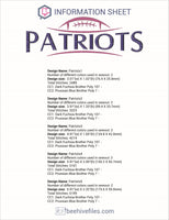 Patriots Football Embroidery in DST, EXP, HUS, JEF, PCS, PES, SEW, VIP, VP3 & XXX - rhinestone templates