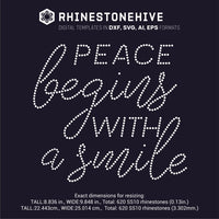 Peace begins with a smile rhinestone template digital download, ai, svg, eps, png, dxf - rhinestone templates