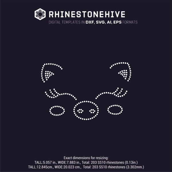 Piggy face rhinestone template digital download, ai, svg, eps, png, dxf - rhinestone templates