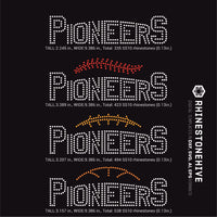Pioneers team baseball, football, basketball, sport digital rhinestone templates, ai, svg, eps, png, dxf - rhinestone templates