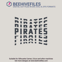 Pirates team name stacked 6 styles in svg, dxf, png, ai, eps format - rhinestone templates