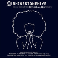 Praying Afro woman rhinestone template digital download, ai, svg, eps, png, dxf - rhinestone templates