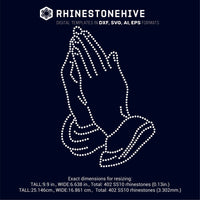 Praying Hands rhinestone template digital download, ai, svg, eps, png, dxf - rhinestone templates