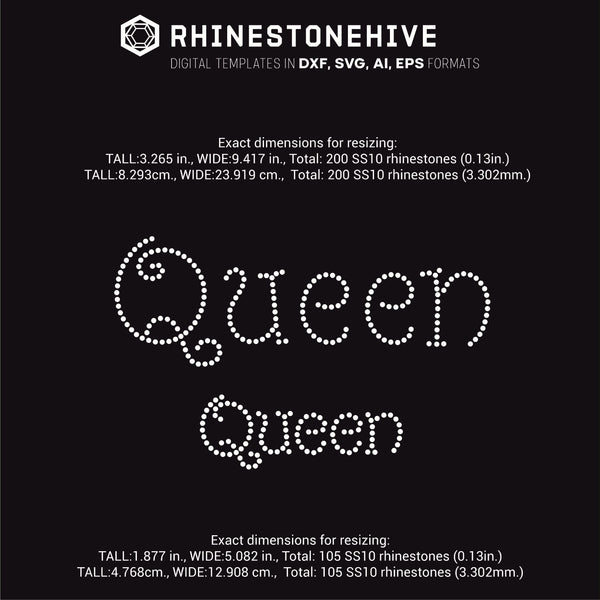 Queen rhinestone template digital download, ai, svg, eps, png, dxf - rhinestone templates