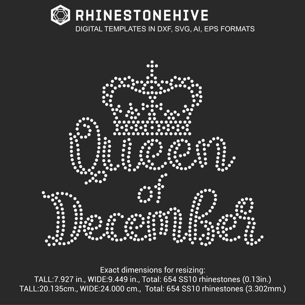 Queen of December Birthday rhinestone template digital download, ai, svg, eps, png, dxf - rhinestone templates