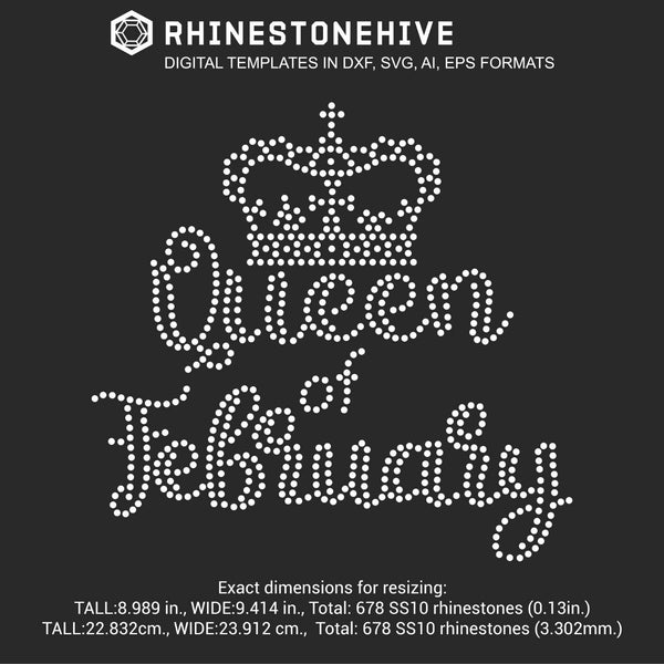 Queen of February Birthday rhinestone template digital download, ai, svg, eps, png, dxf - rhinestone templates
