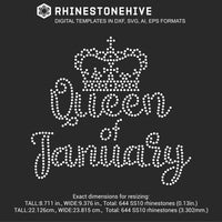 Queen of January Birthday rhinestone template digital download, ai, svg, eps, png, dxf - rhinestone templates