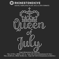 Queen of July Birthday rhinestone template digital download, ai, svg, eps, png, dxf - rhinestone templates