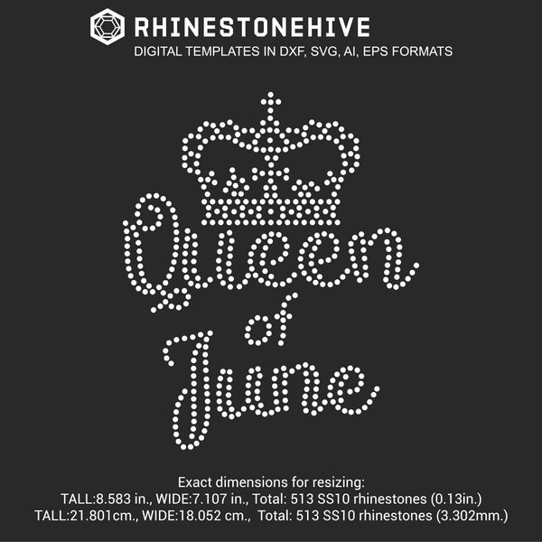 Queen of June Birthday rhinestone template digital download, ai, svg, eps, png, dxf - rhinestone templates