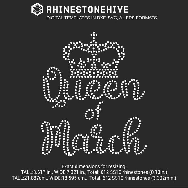Queen of March Birthday rhinestone template digital download, ai, svg, eps, png, dxf - rhinestone templates