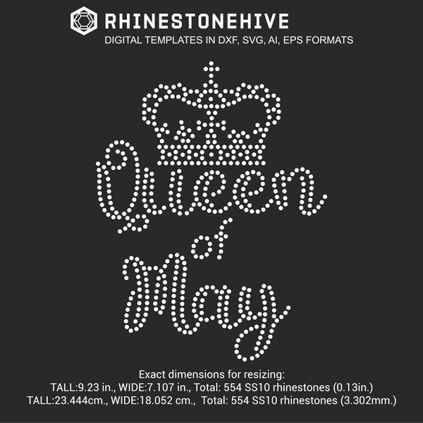 Queen of May Birthday rhinestone template digital download, ai, svg, eps, png, dxf - rhinestone templates