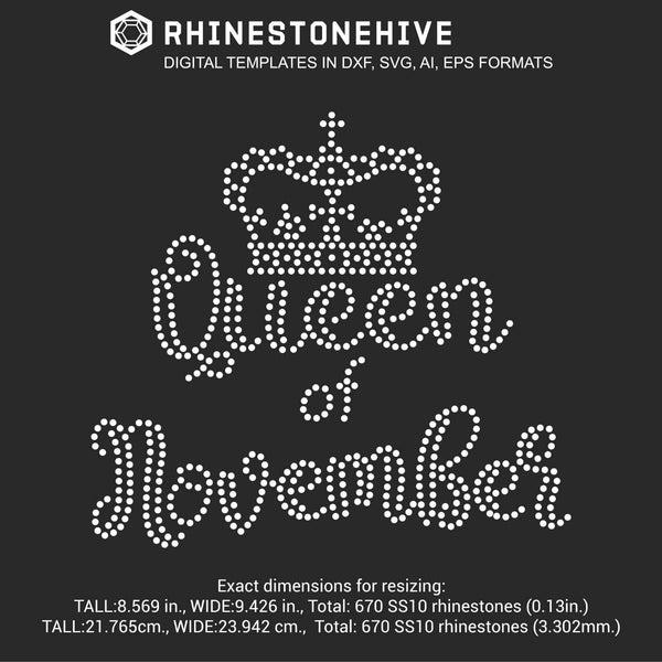 Queen of November Birthday rhinestone template digital download, ai, svg, eps, png, dxf - rhinestone templates